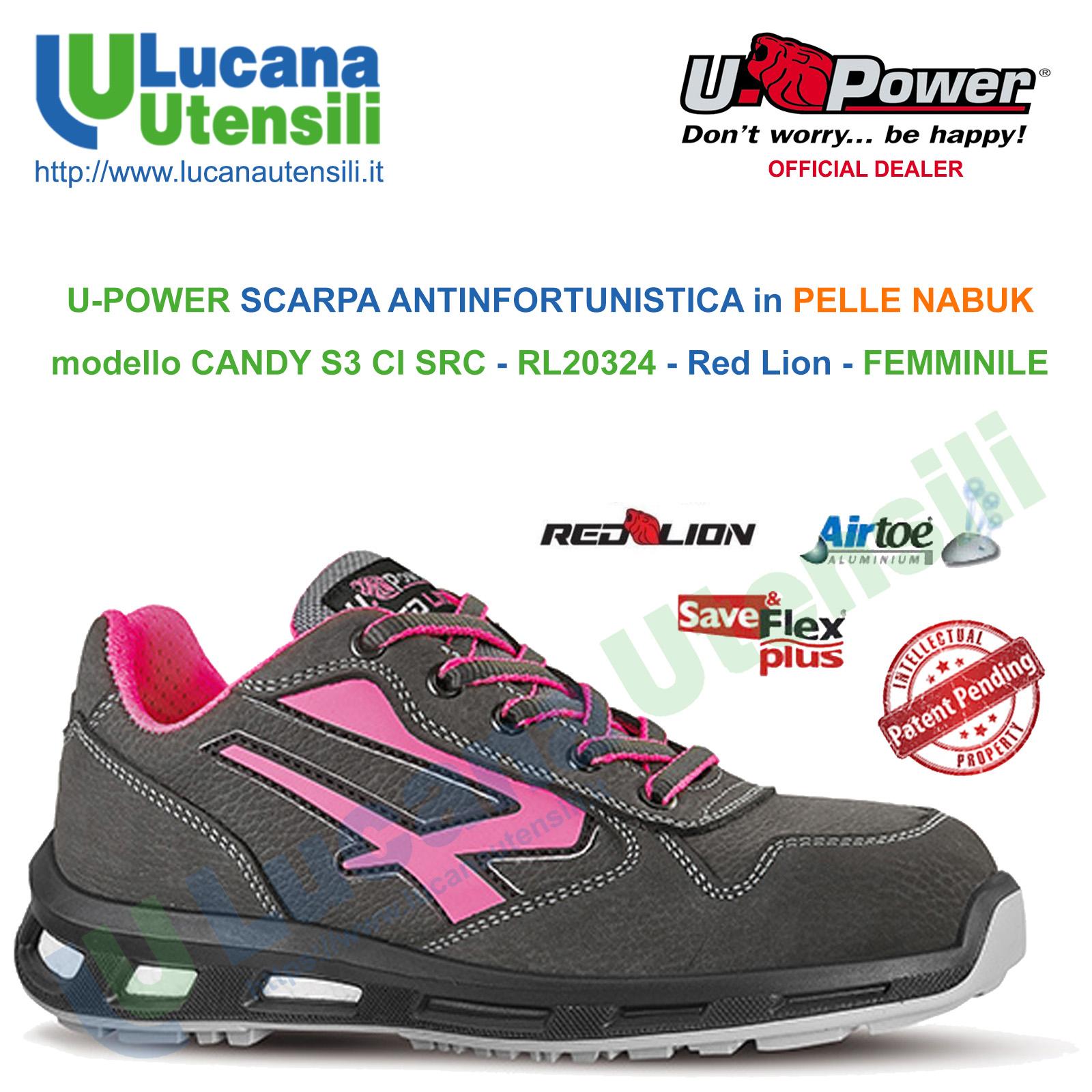 Upower Scarpa Scarpe lavoro antinfortunistica pelle S3 alta  LION U-POWER
