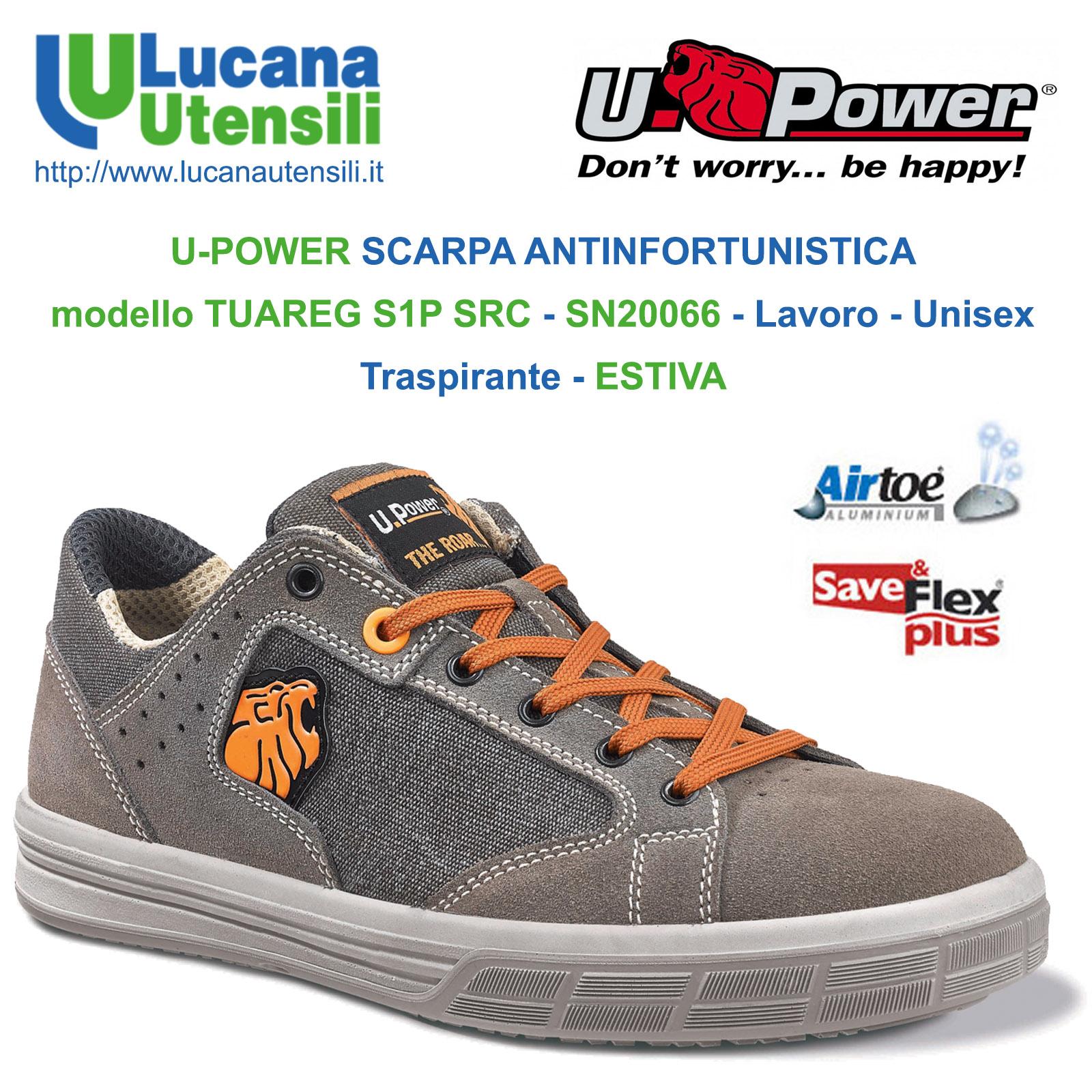 vasta selezione store come ottenere U-POWER SCARPA ANTINFORTUNISTICA modello TUAREG S1P SRC - SN20066 - Lavoro  - Unisex - Traspirante - ESTIVA