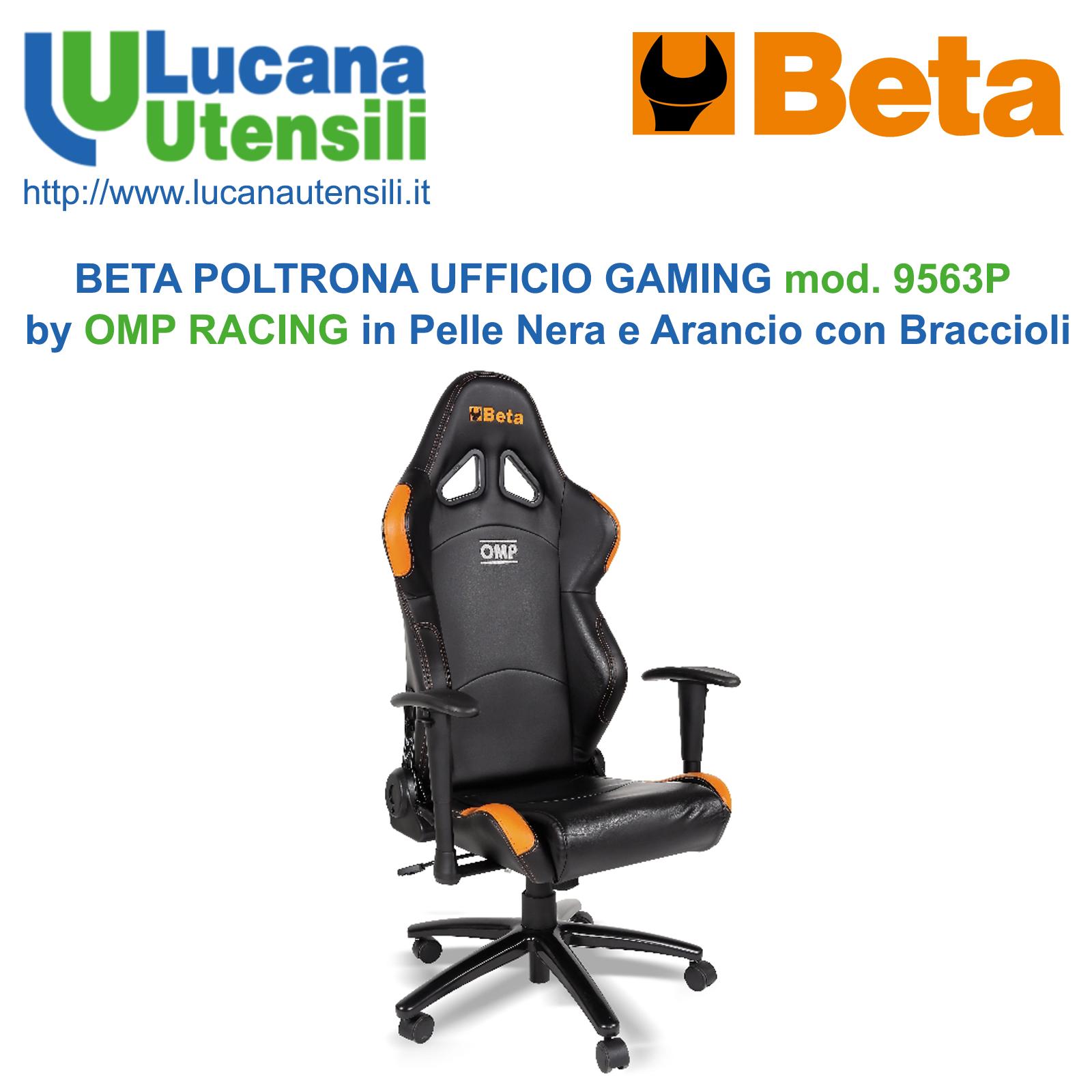 Omp Poltrone Ufficio.Beta Poltrona Ufficio Gaming Modello 9563p By Omp Racing In Pelle Nera E Arancio Con Braccioli E Rotelle