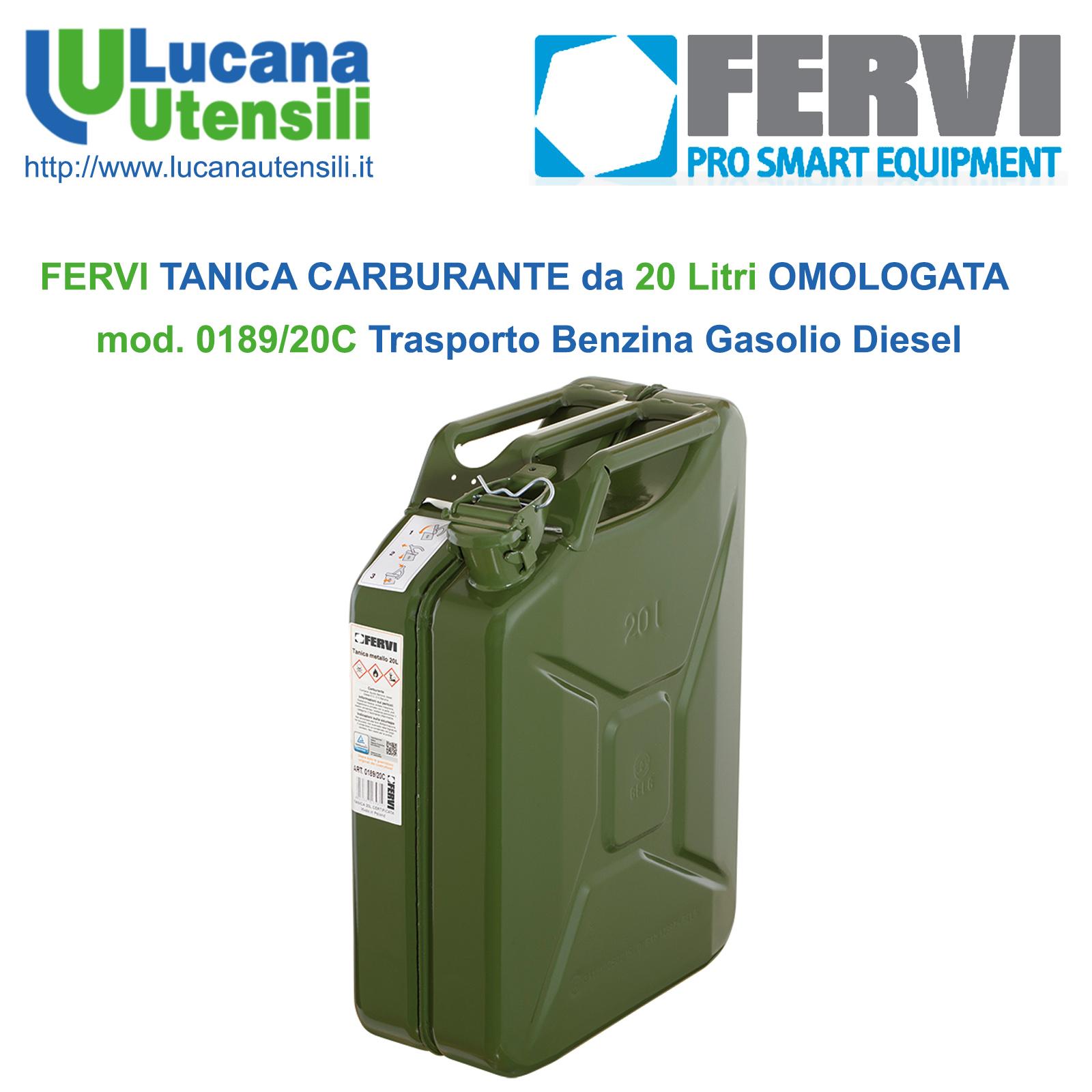 TANICA TANICHE OMOLOGATA IN METALLO PER CARBURANTE BENZINA GASOLIO 10 LITRI