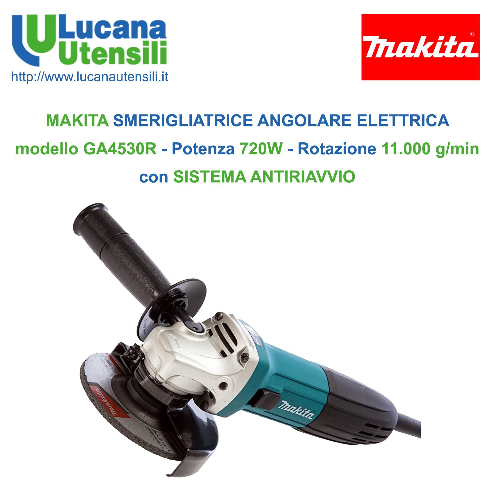 MAKITA smerigliatrice flex professionale ANTIRIAVVIO 115mm 720w GA4530R