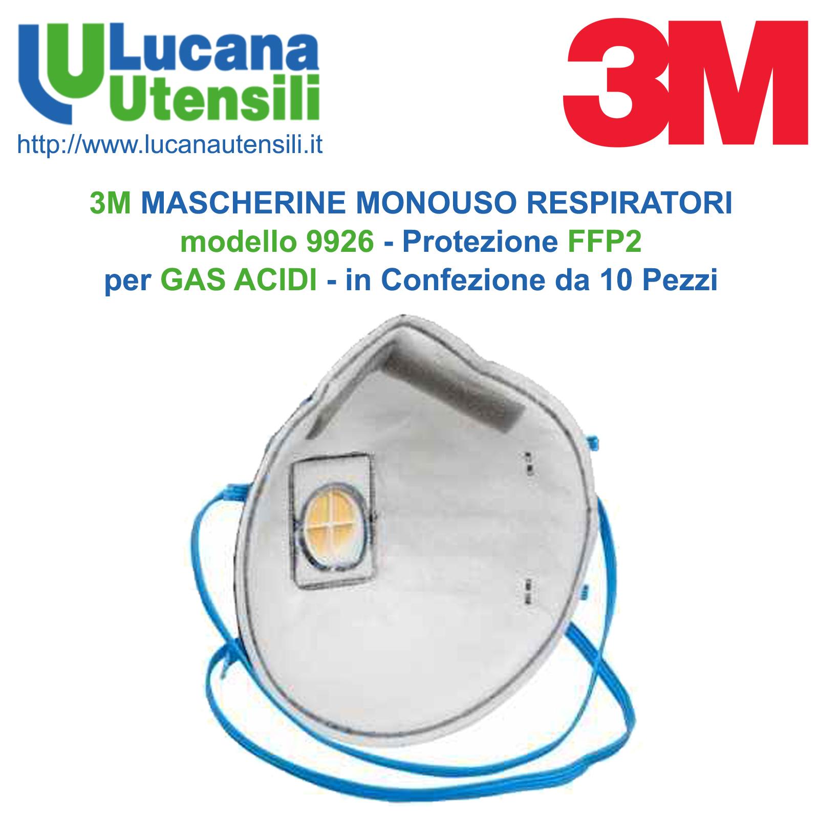 qualità autentica nuovo design bene 3M MASCHERINE MONOUSO RESPIRATORI modello 9926 con VALVOLA - Protezione  FFP2 per GAS ACIDI - Confezione 10 PZ