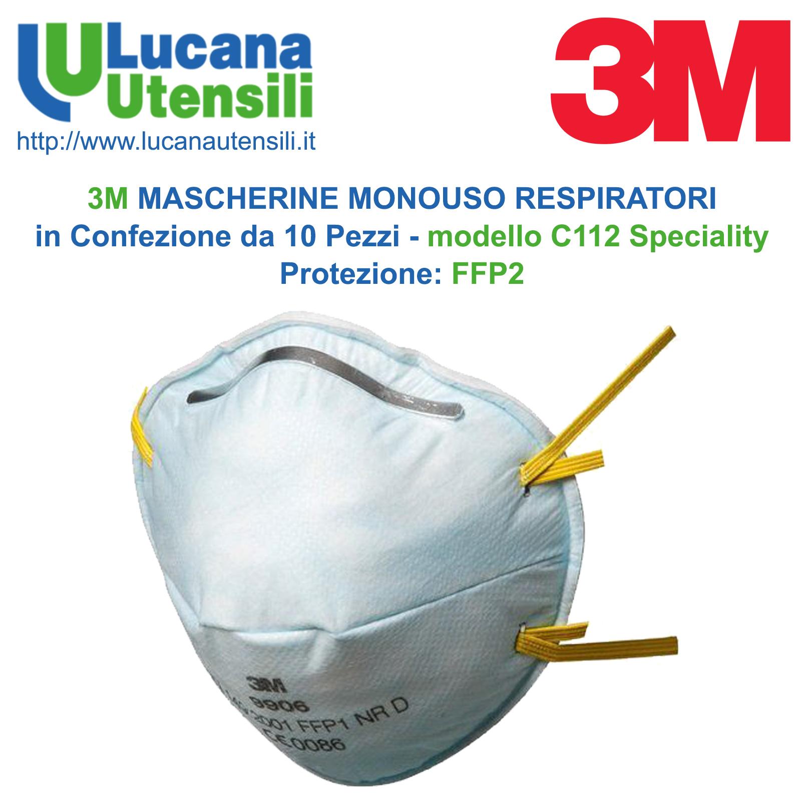 informazioni per stili diversi prestazioni superiori 3M MASCHERINE MONOUSO RESPIRATORI in Confezione da 10 Pezzi - modello C112  Speciality - FFP2