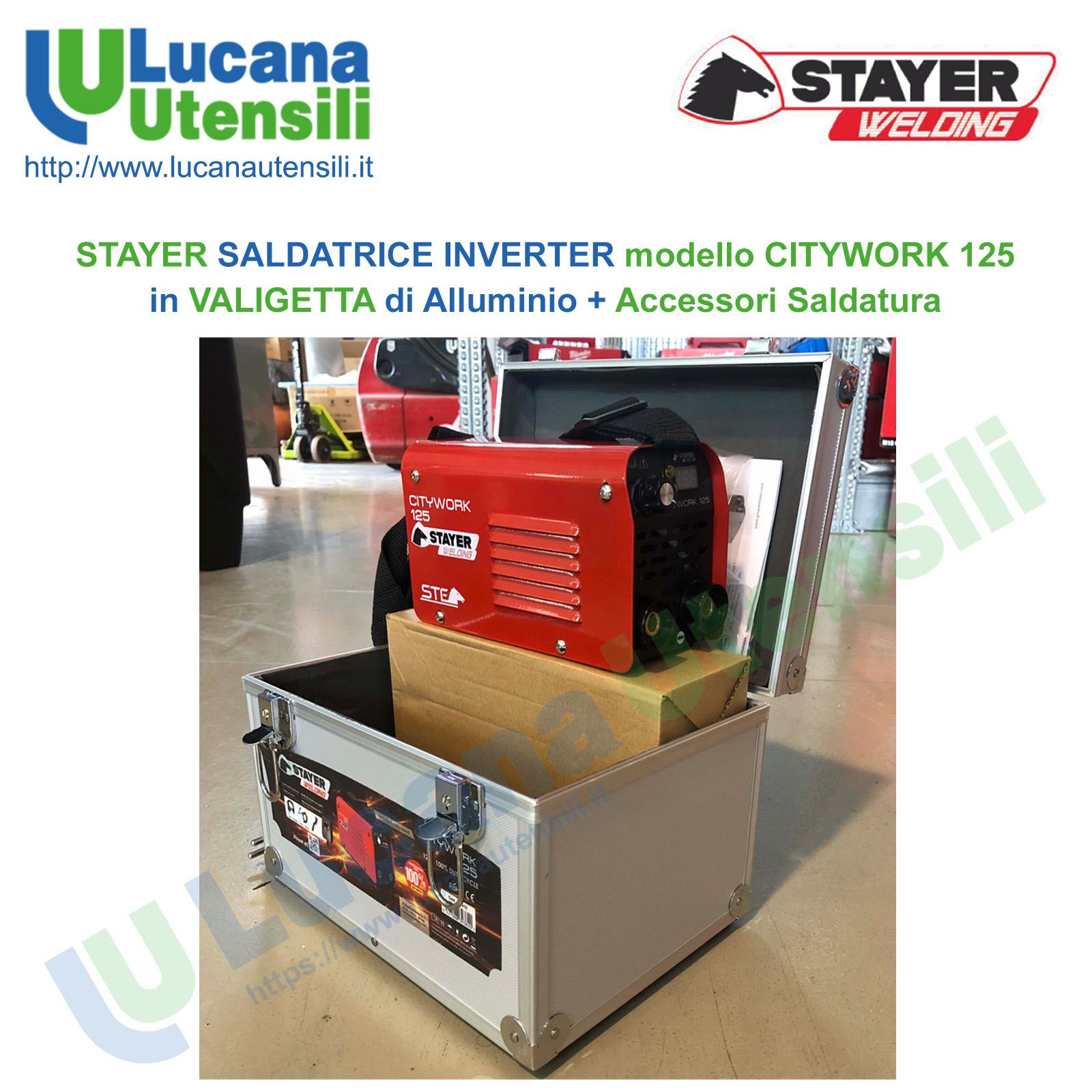 STAYER SALDATRICE INVERTER modello CITYWORK 125 in VALIGETTA di ALLUMINIO+ ACCESSORI SALDATURA Promo Natale