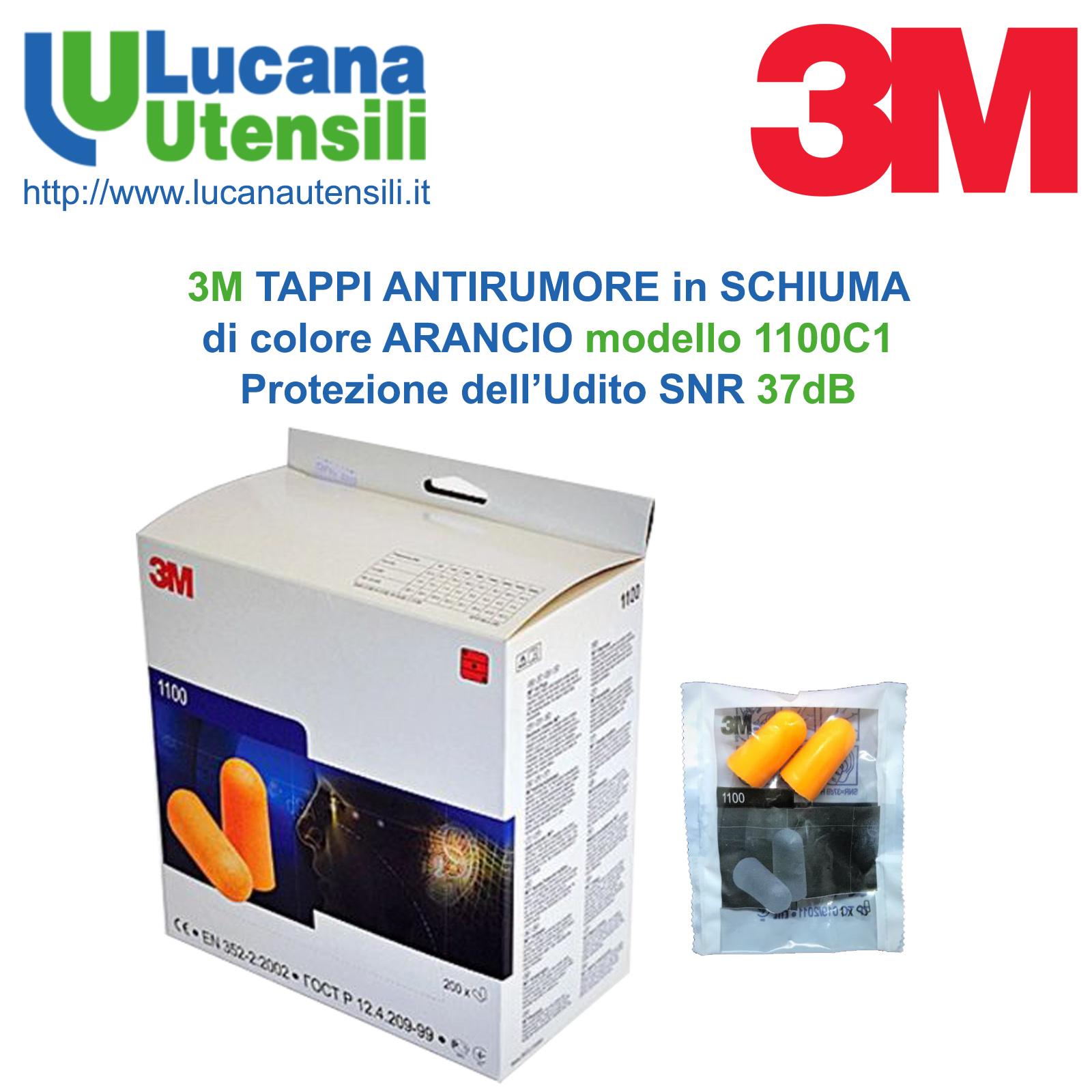 Arancione 3M 1100 Tappi Auricolari Set da 5 Pezzi