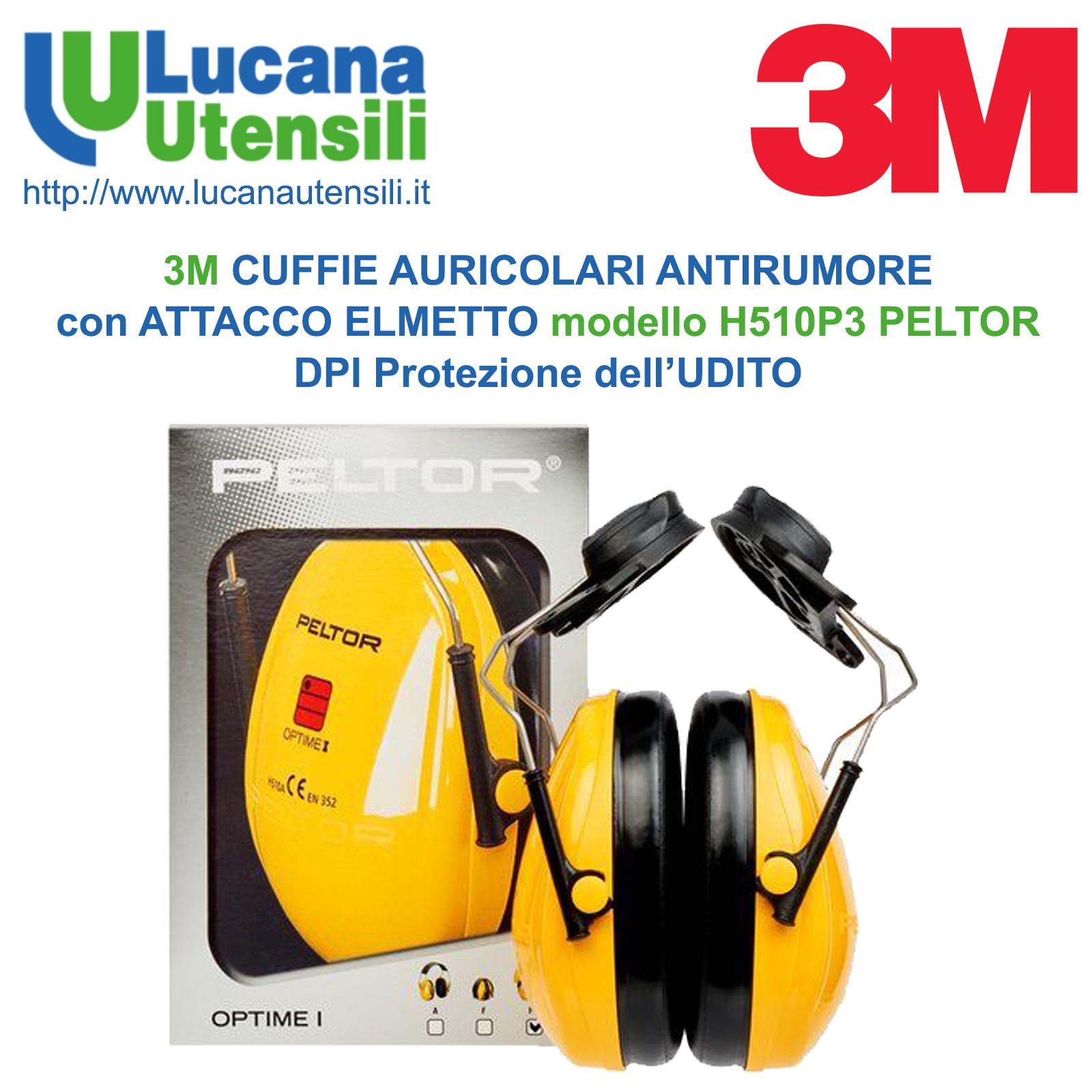 CONFEZIONE DA 4 PEZZI 3M Tappi per orecchie antirumore PROFESSIONALI con archetto attenuazione 23 dB omologazione CE