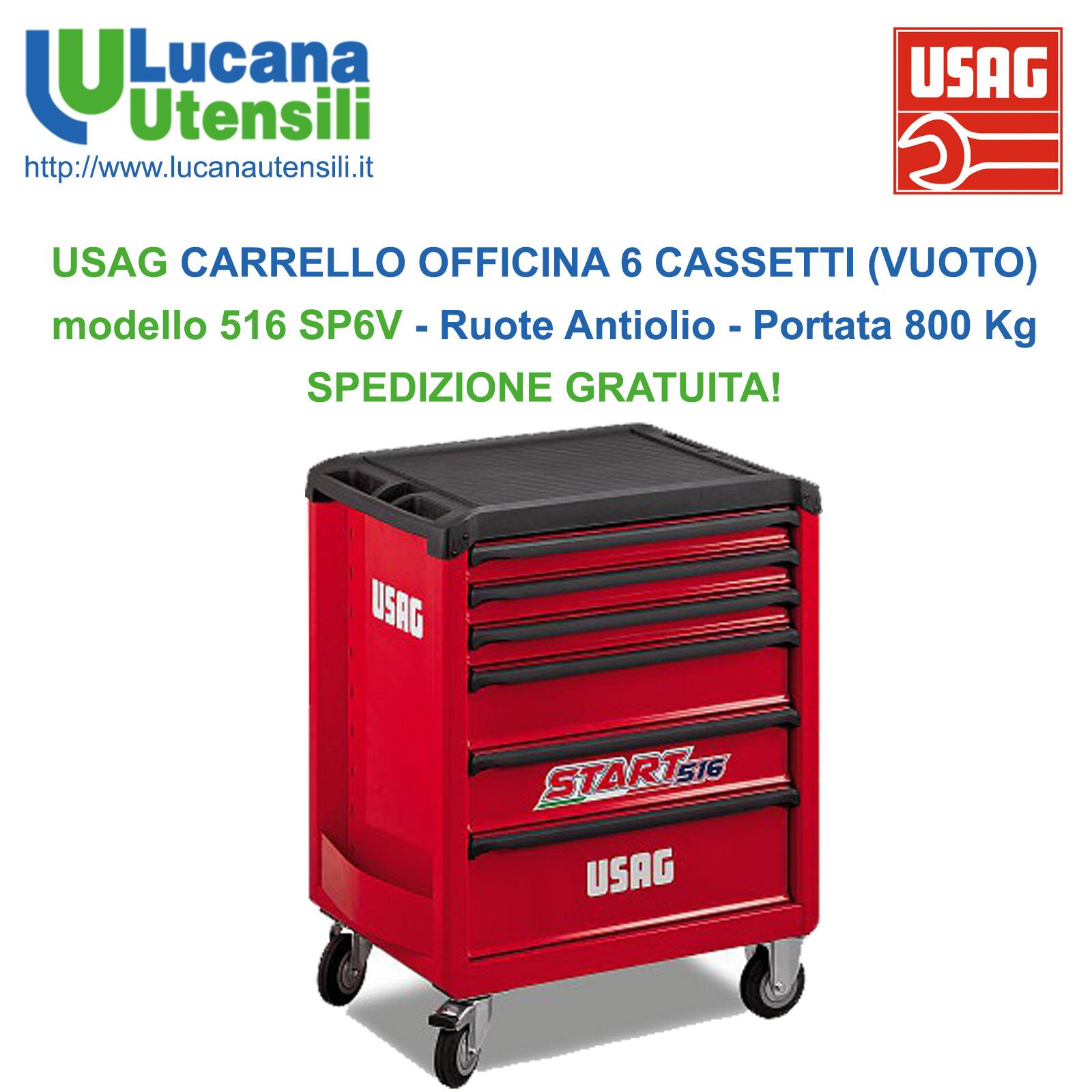 353b83bcb5260d USAG CARRELLO OFFICINA con 6 CASSETTI (VUOTO) modello 516 SP6V con ...