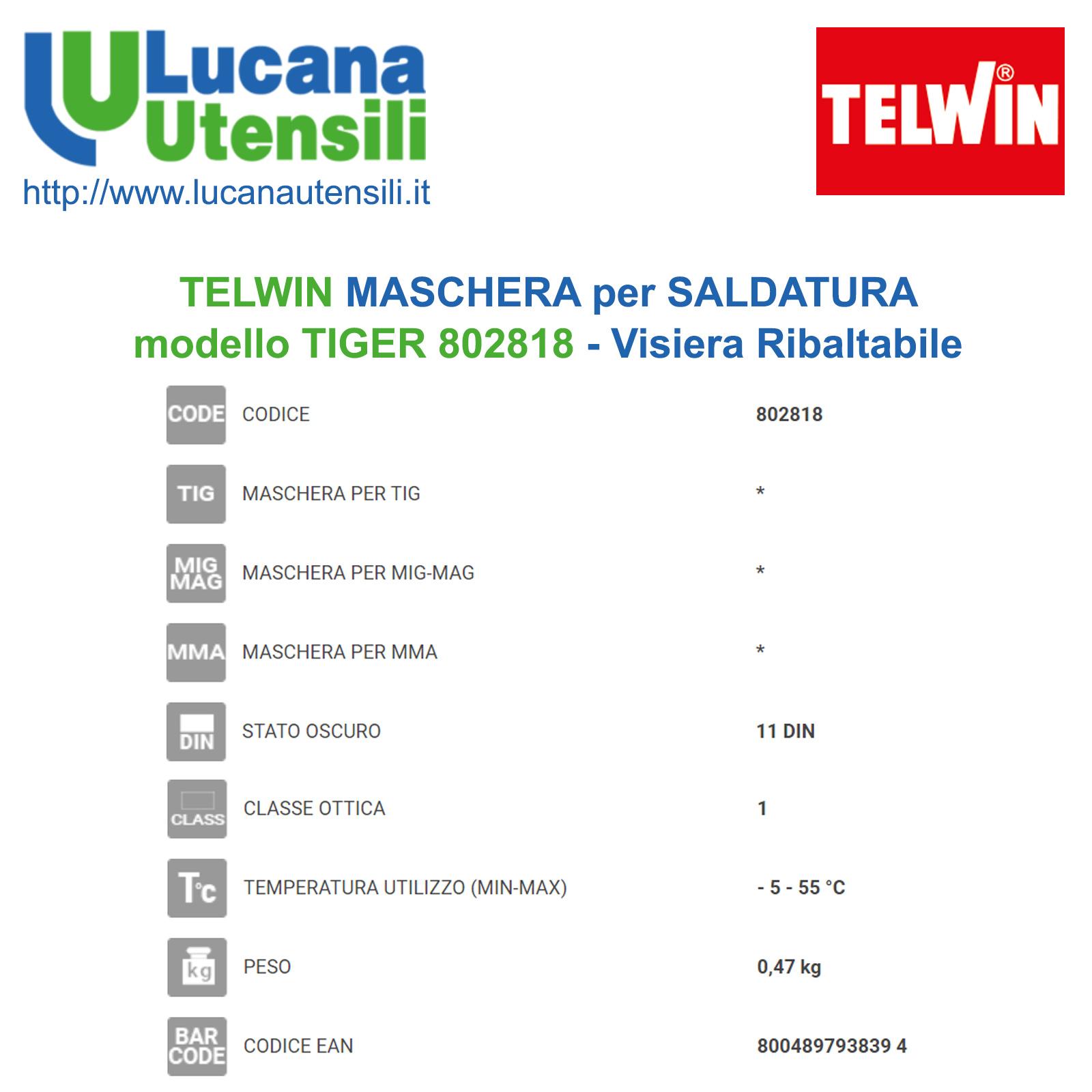 Maschera Tiger MMA//MIG-MAG//TIG Telwin 802818 X SALDATURA
