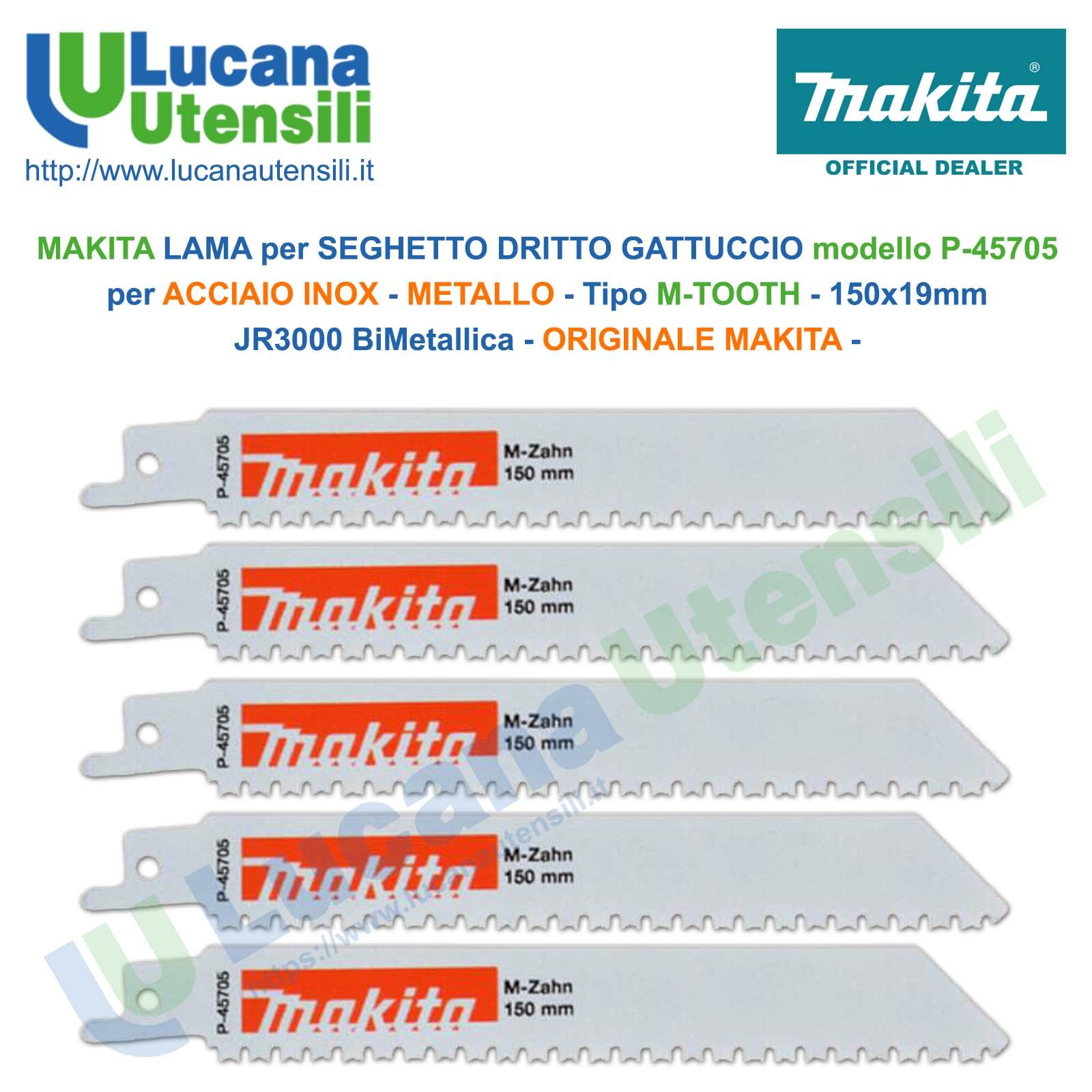 MAKITA LAME x SEGHETTO DRITTO GATTUCCIO 5 PEZZI mod P-45705 150x19mm per METALLO