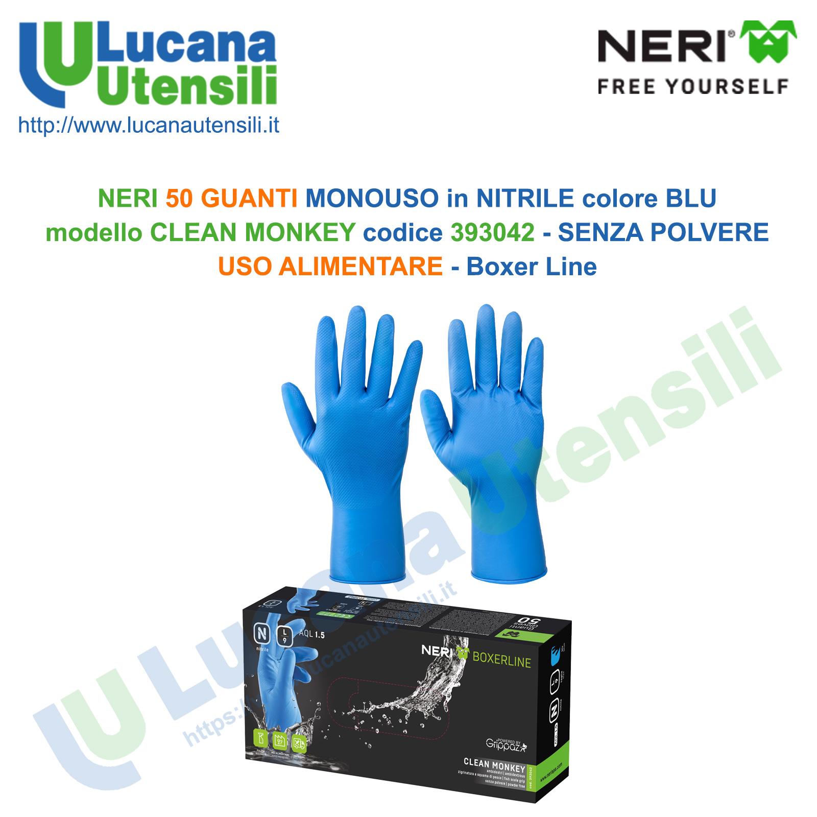 NERI 50 GUANTI MONOUSO NITRILE BLU mod CLEAN MONKEY 393042 No Polvere ALIMENTARE