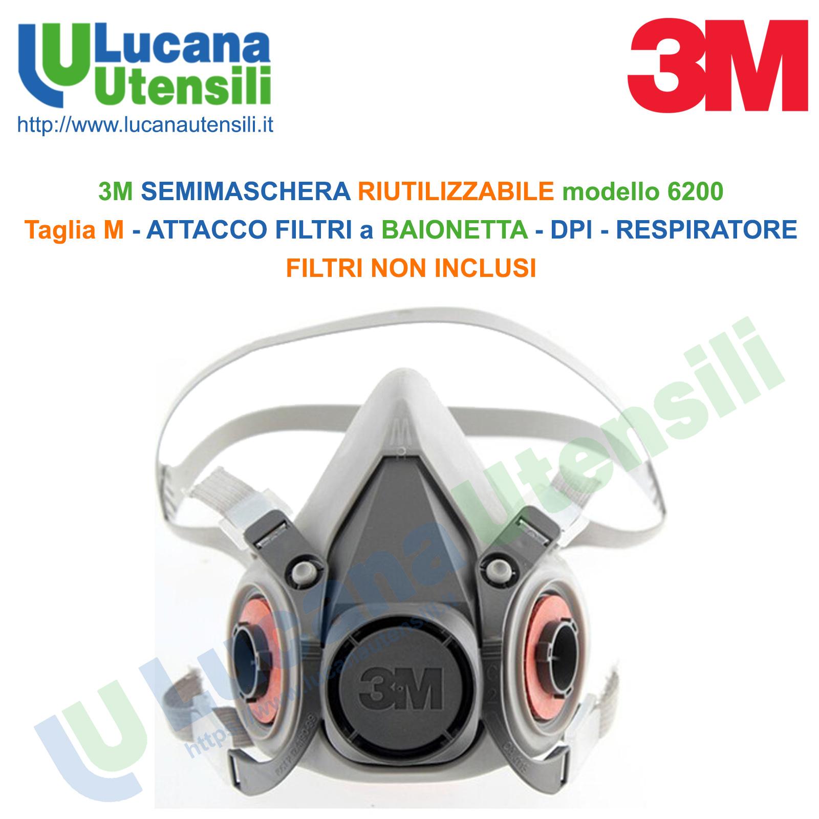 3m 6200m respiratore a semimaschera riutilizzabile taglia m